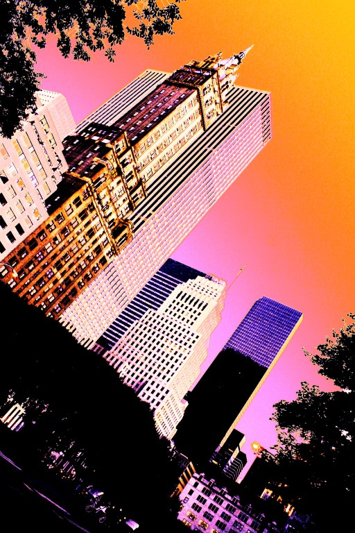 New York - Scrapers in the Spirit of Miami - Orange Sunset by K.Veijo