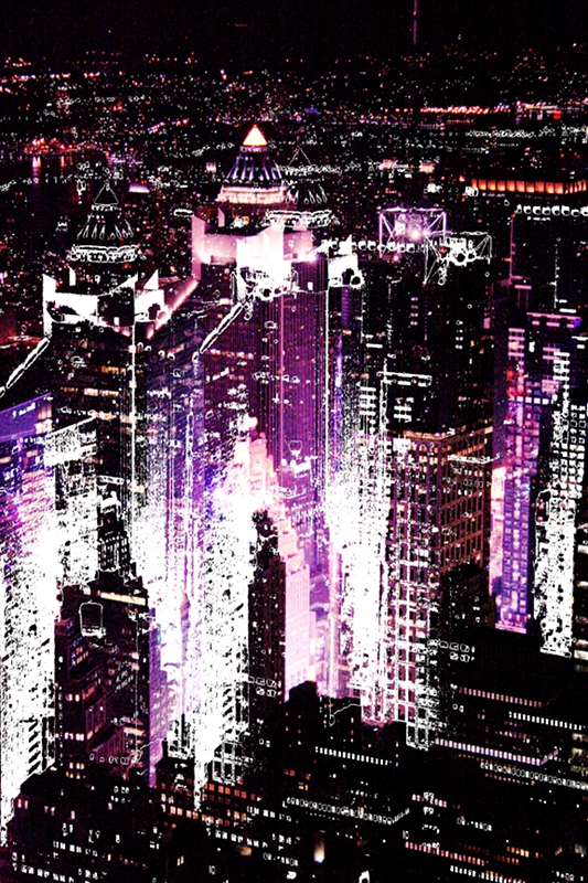 New York - Scraper City Nights - Violet by K.Veijo